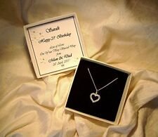 21st Birthday Gift jewellery sterling silver heart CZ necklace personalized box