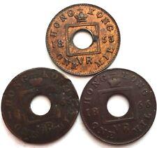 3 Hong Kong 1 Mil 1863 1866