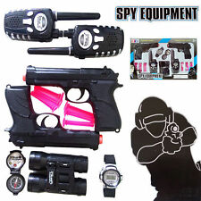 SPY EQUIPMENT POLICE PLAY SET SHOT GUN WALKIE TALKIE TELESCOPE WATCH COMPASS TOY