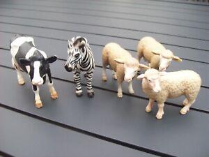 Schleich animals Bulk lot of 5 (Sheep, Cow, Zebra)