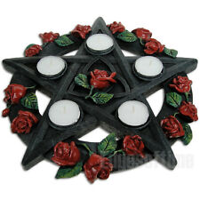 WICCAN PENTAGRAM ROSE TEALIGHT CANDLE INCENSE HOLDER PAGAN GOTHIC OCCULT 29.5CM