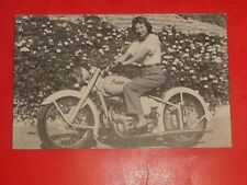 ZP615 RARE Vintage Postcard Woman on Indian Motorcycle Arrow Scout