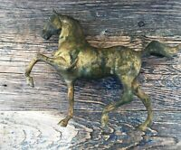 SOLID BRASS HORSE FIGURE, LOTS OF PATINA AND TARNISH SCULPTURE DÉCOR / DOORSTOP