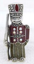 Vintage Silver Tone Enamel Clear AB Rhinestone Toy Soldier Pin Brooch