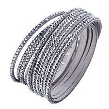 Crystal Closure Cuff Rhinestone Slake 2 in 1 Grey Bracelet Swarovski Element