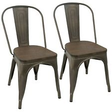 OPEN BOX Oregon Dining Chairs in Antique Metal & Espresso Wood (Set of 2)