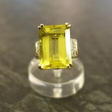 Goldring  Stein hellgrün gelblich Zirkone 333er Gold 8 Kt Gelbgold Ring Größe 59