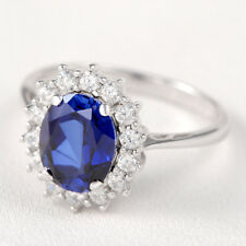 Gemstone Ring For Women Blue Sapphire White CZ Oval Halo 925 Sterling Silver 6#