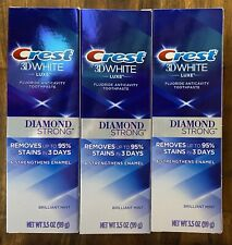 Lot of 3 - Crest 3D White Luxe Diamond Strong Fluoride Toothpaste Brilliant Mint