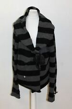 MARC JACOBS Ladies Black & Grey Wool Blend Striped Chunky Cable Knit Cardigan  L