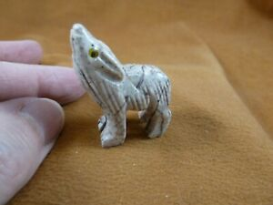 (Y-WOL-9) white red WOLF coyote wild dog carving SOAPSTONE stone PERU FIGURINE