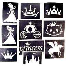 10x stencils princess, crown glitter tattoo face painting airbrush  prof quality
