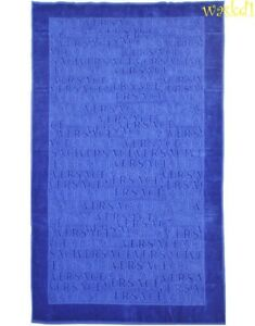 VERSACE electric blue Signature LOGOS terry BEACH blanket Towel NWT Authent $250