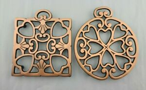 Pampered Chef Round Up Trivets Copper Tone Lot of 2