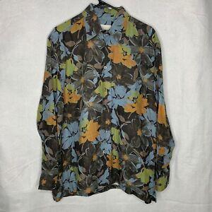 Brioni Men's 100% Linen Floral Print Long Sleeve Dress Shirt Size Medium EUC