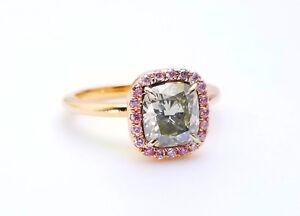 1.68ct Fancy Gray & Argyle 6PP Intense Pink Diamond Engagement Ring GIA 18K SI1