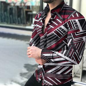 Stylish Mens Casual Dress Shirts Leopard Print Long Sleeve Slim T-shirts Top Tee
