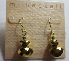 M. Haskell Earrings Women Gold Tone faceted baubles disco ball drop dangle