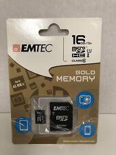 Black Emtec 16 GB Class 10 Mini Jumbo Micro SDHC Memory Card Up To 45 MB/s Gold