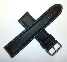 TechnoMarine Nylon Watch Strap Band 22MM Black w/ Blue Stitching - 7801 NEW