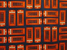 BRITISH LONDON UK TELEPHONE BOOTH BLUE COTTON FABRIC FQ