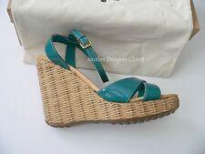 NIB CAR SHOE 41 wedge heels rattan teal patent leather shoes $395 w/ dust bag
