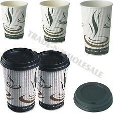 More details for triple insulated hot drinks paper cups coffee catering cafe disposible dome lids