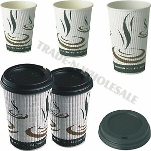 Triple Insulated Hot Drinks Paper Cups Coffee Catering Cafe Disposible Dome Lids
