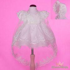 Beaded Ivory Baby Baptism Christening Dress Gown Cape Bonnet Wedding Size 0 #008