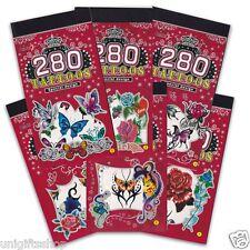 Halloween 5 Books Temporary Tattoo, Bulk 280+ Butterfly Flower Tattoos for Girls