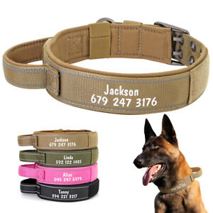 Military Tactical Dog Training Collar with Quick Fit Handle Personalised Name