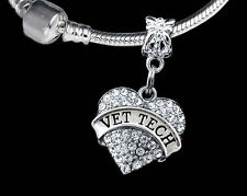 Vet Tech charm   Vet tech best jewelry gift  Silver  Crystal Heart Charm  Animal