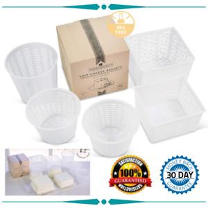 Cheese Maker Draining Basket Mould Draining Ricotta Press Mold Kit 5pcs White