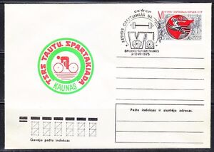 Soviet Lithuania 1975 cover Spartakiada.Cycling.Weightlifting finals.Vilnius.