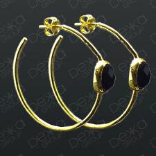 18K Gold On Sterling Silver Vermeil Hoop Earrings Black Onyx Semi Precious Stone