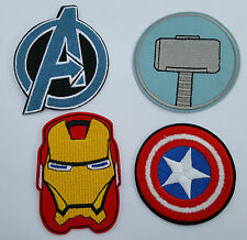 Super Hero Iron Man Avengers Logo set of 4 Iron on Patch Sew on fancy dress