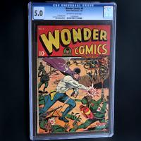 WONDER COMICS #5 💥 CGC 5.0 OW/W 💥 Japanese WWII Schomburg CVR! Only 15 Graded