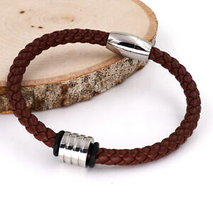Silver Bead Mens Braided Brown Leather Bracelet for Men Women Wrist Cuff Gift