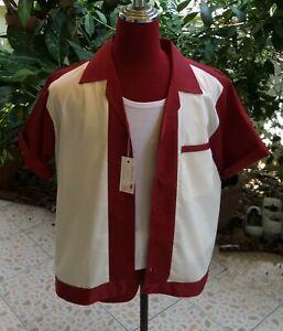 Men's Rockabilly Vintage 50's Style Retro Bowling Shirt Burgundy & Cream