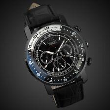 Men's Aviator Mechanical Self-winding Watch Black Leather Auto Analog 6 Hands