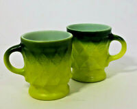Vintage Anchor Hocking Fire King Green Kimberly Diamond Pattern Coffee Cup