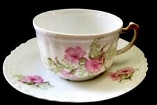 Antique Limoges France Coronet George Borgfeldt Pink Carnation Cup & Sauce