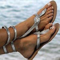 Womens Summer Europe Gladiator Roman Flat heel shiny Beach sandals shoes Loafers