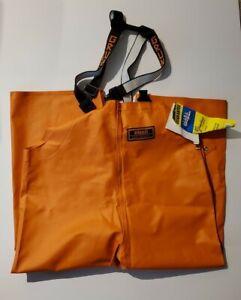 Grundens Herkules Trousers Bib rain Pants 16 Large BRAND NEW fishing orange