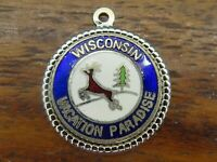 Vintage sterling silver WISCONSIN VACATION PARADISE DISC TRAVEL SHIELD charm #M