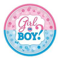 Gender Reveal Plates Girl or Boy Big Reveal Party Disposable Paper Plates 541573