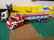 LEGO CITY CUSTOM PETERBILT 6 WHEELER TRUCK WITH TIPPER TRAILER   L@@K