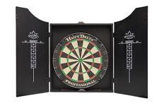 HAN'S DELTA Professional Bristle Dartboard Cabinet Set, Includes 6 darts, Brown