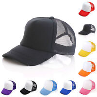 Mens Women Mesh Baseball Cap Trucker Hat Plain Snapback Adjustable Curved Visor