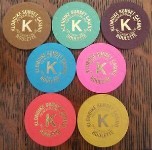 Klondike Sunset Casino, Henderson, NV - SEVEN different roulette chips